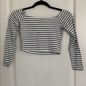 Off-Shoulder Striped Long Sleeve Crop Top